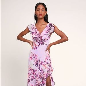 NEW Lulus Lavender Floral Ruffle Maxi Dress